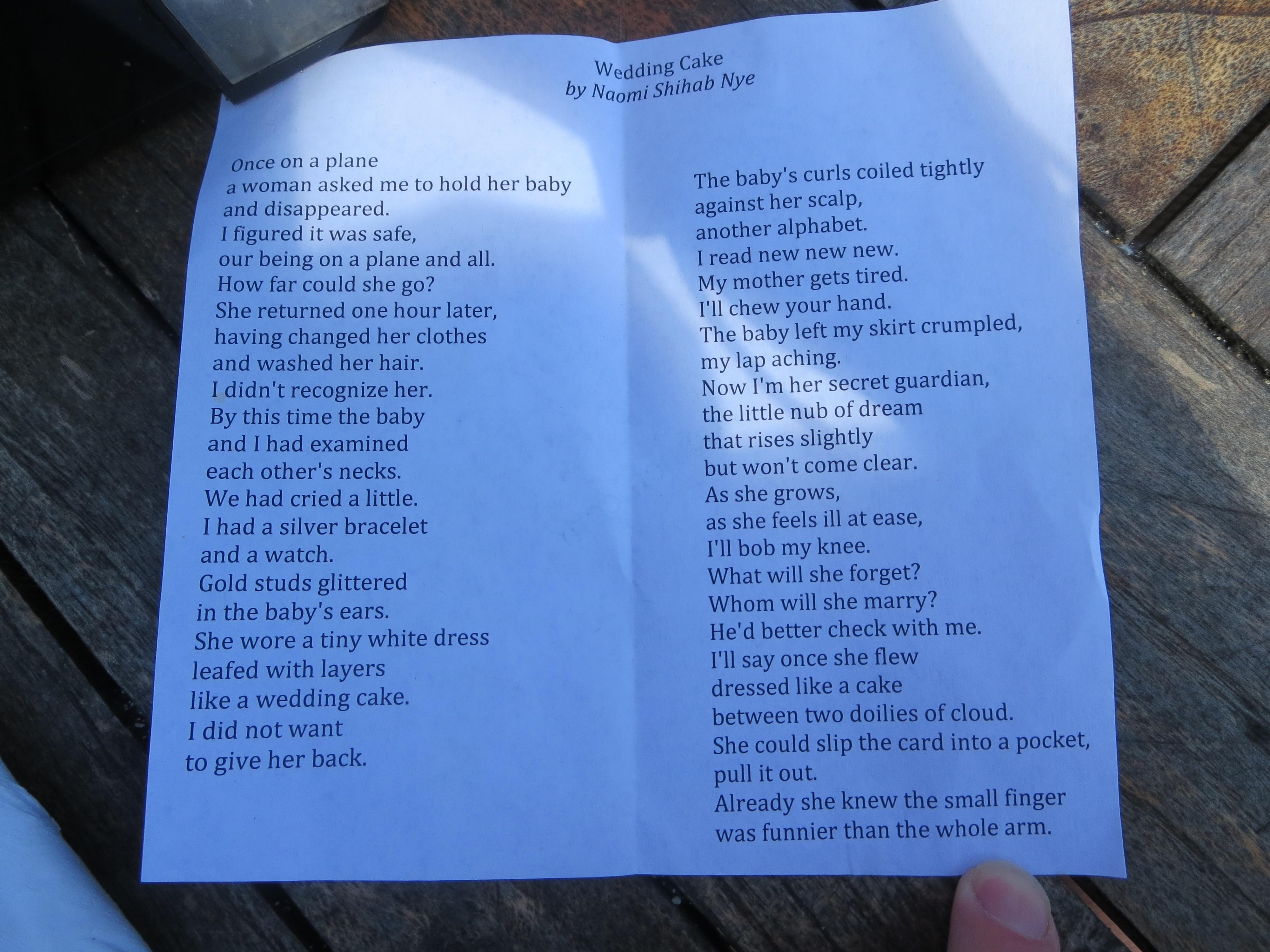 Wedding Cake Poem Elf